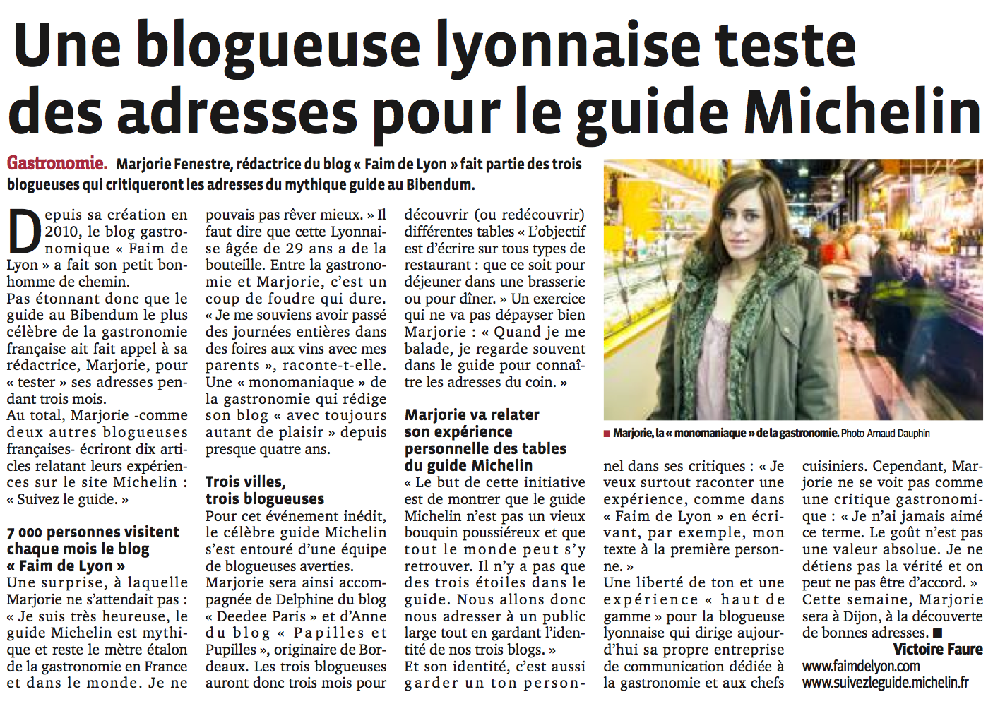 article le progrès marjorie fenestre guide michelin